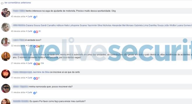 Falsos comentários em redes sociais são usados para convencer a vítima