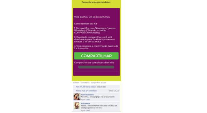 Vítimas do golpe são convencidas a compartilhar o link com 30 amigos no WhatsApp