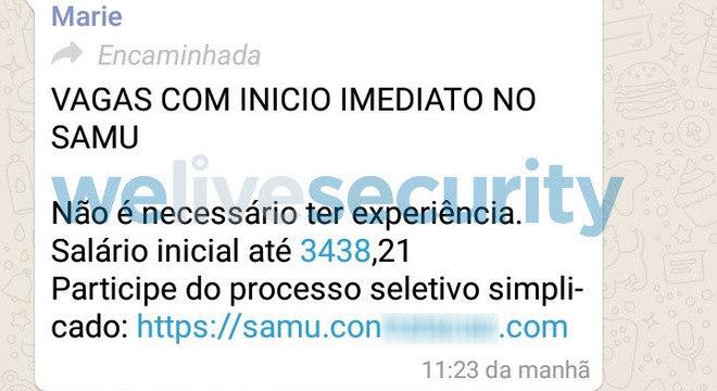 Mensagem com link falso é compartilhado pelo WhatsApp