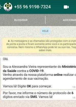 Golpistas tentam obter o código de verificação do Whatsapp