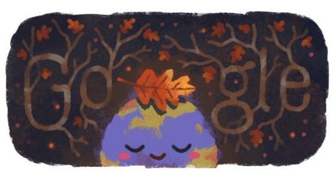 Doodle de outono exibido para a América Central e do Norte, Europa e Ásia