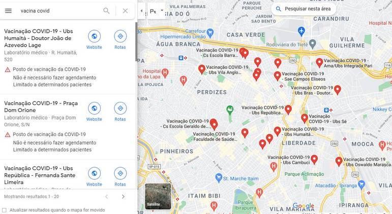 """Para encontrar local, basta digitar """"vacina covid"""" dentro do Google Maps"""