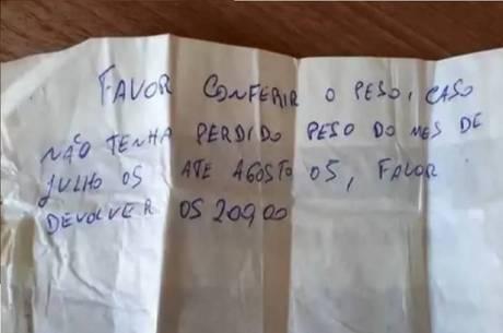 Bilhete do patrão traz pedido de devolução de bônus