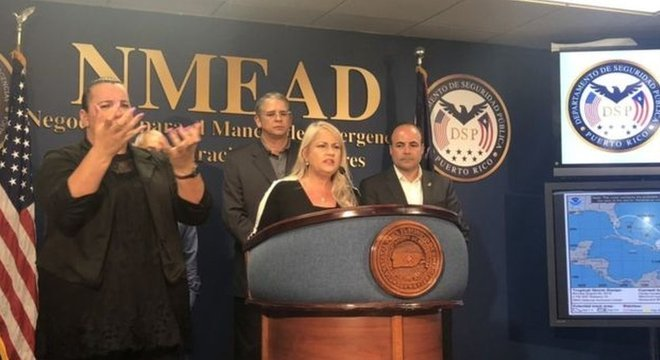 As autoridades de Porto Rico implementarão protocolo para minimizar os desastres que a tempestade possa causar, anunciou a governadora Vázquez