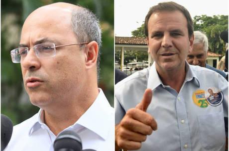 Witzel (esq.) enfrentará ex-prefeito Paes no 2º turno