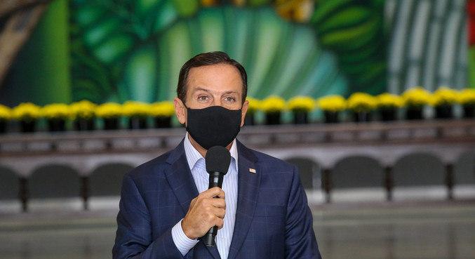 O governador João Doria em coletiva de imprensa em São Paulo