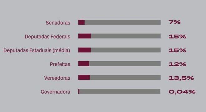 Gráfico representa os cargos das mulheres vítimas de violência política
