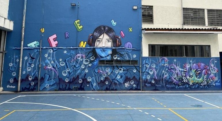 Grafiteiro Binho Ribeiro realizou painel na Etec Carlos de Campos (SP) na Semana da Dislexia