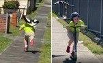 Uma gralha descontrolada arruinou o passeio de patinete de um garotinho emWollongong, na Austrália