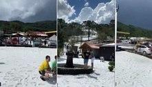"Chuva de granizo faz ""nevar"" na Serra Catarinense; veja imagens"