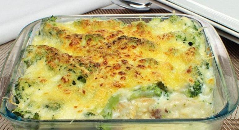 Gratinado de peixe com brócolis