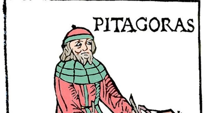 Gravura ilustra demonstração de Pitágoras da relação matemática