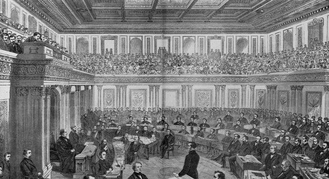 Gravura mostra julgamento do impeachment de Andrew Johnson no Senado