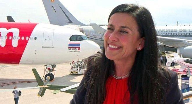 Grazia Vittadini, da Airbus, diz que as aeronaves atuais são 75 a 80% mais eficientes em consumo de combustível do que há 50 anos
