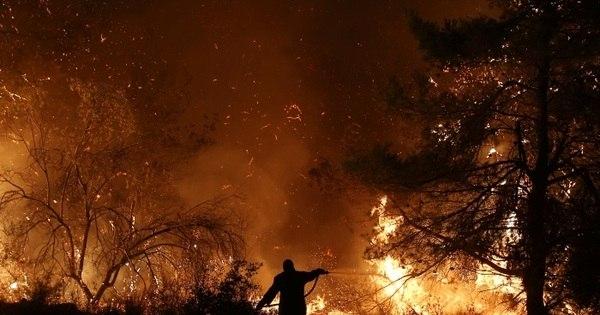 Bombeiros trabalham para extinguir incêndio na ilha grega de Eubeia