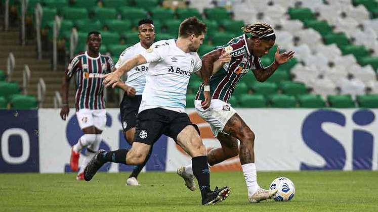 GRÊMIO - SOBE - PINARES E VANDERSON - Em uma atuação oscilante do Tricolor gaúcho, PINARES foi decisivo ao converter o pênalti com categoria. VANDERSON também levou perigo em alguns momentos, como a bola que carimbou no travessão de Muriel. DESCE - RETRANCA - A equipe de Luiz Felipe Scolari se retraiu excessivamente e, com lentidão, demorou para conseguir engatar jogadas. Só no fim, veio a esperada vitória.