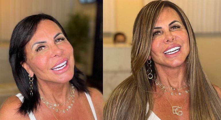 Gretchen antes e depois de fazer mudança no visual