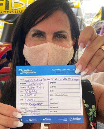 Gretchen foi vacinada contra acovid-19no dia 28 de março. A cantora de 61 anos compartilhou a notícia nas redes sociais.