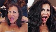 Gretchen muda visual e adota mega hair com fios ondulados e naturais