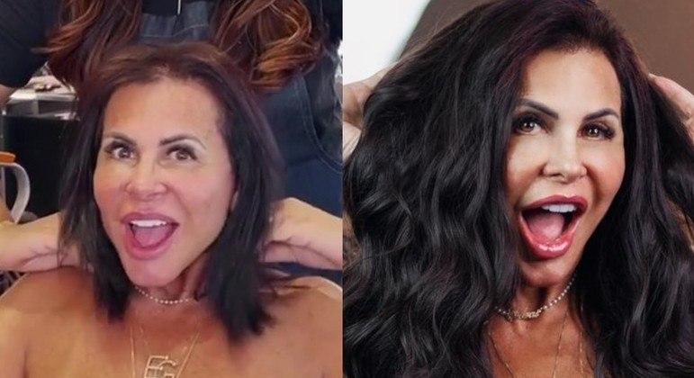 Gretchen antes e depois de colocar seu novo mega hair, com fios mais escuros e ondulados