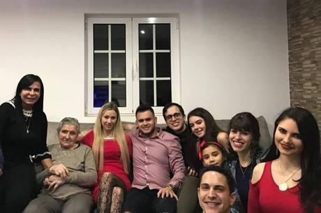 Cantora com a família no Natal de 2018