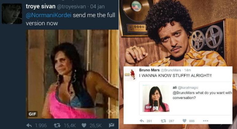 Outros artistas como Bruno Mars e Troye Sivan também já usaram memes de Gretchen nas redes sociais, como as icônicas cenas da participação da cantora no reality show A Fazenda