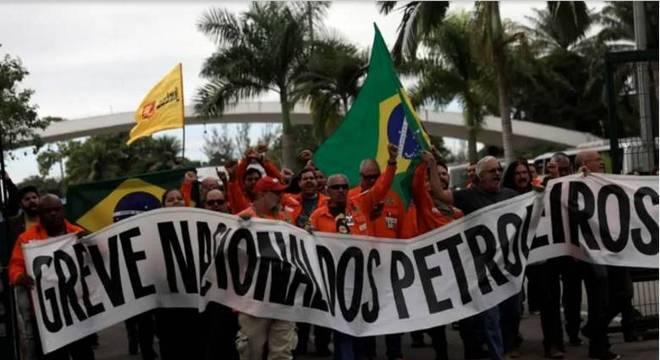 Protesto de empregados da Petrobrás ligados à FUP (Federação Única dos Petroleiros