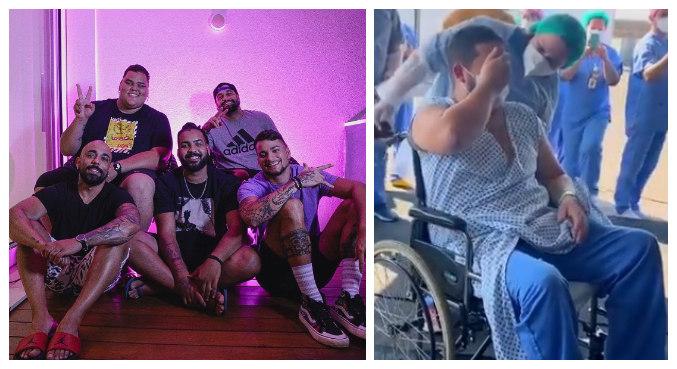 Banda de pagode foi ao hospital e surpreendeu fã que se recupera da covid-19