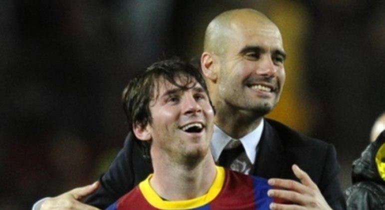 Guardiola e Messi (Foto: Javier Soriano/AFP)