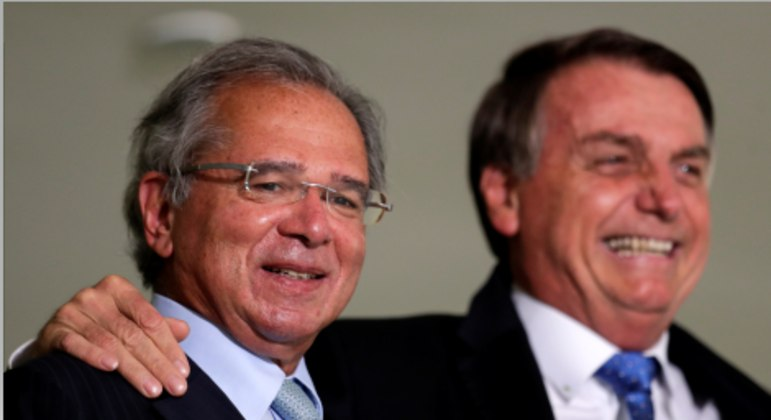 O ministro Paulo Guedes e o presidente Jair Bolsonaro