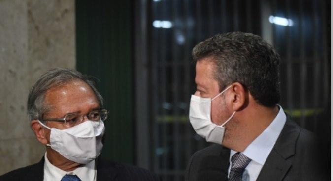 O ministro Paulo Guedes e o presidente da Câmara, Arthur Lira