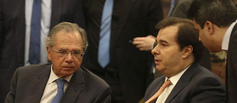 O ministro Paulo Guedes recebe hoje Rodrigo Maia para tratar da reforma da  Previdência