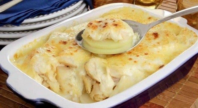 Guia da Cozinha - Bacalhau gratinado aos queijos
