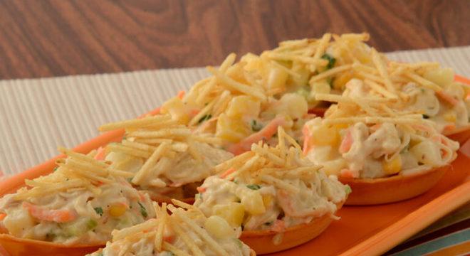 Guia da Cozinha - Barquinha de salpicão: aperitivo fácil e rápido
