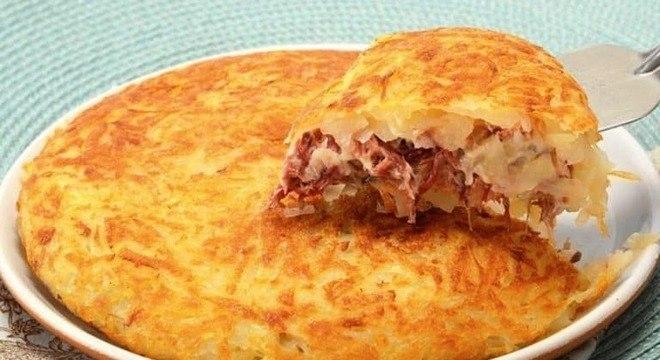 Guia da Cozinha - Batata rosti com carne seca e queijo