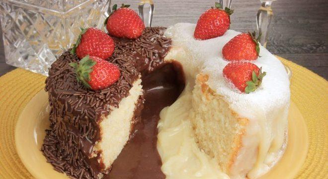 Guia da Cozinha - Bolo vulcão dois brigadeiros: sobremesa fácil e deliciosa