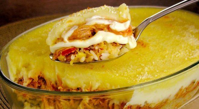 Guia da Cozinha - Escondidinho de arroz, frango e batata