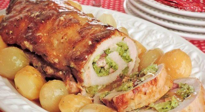 Guia da Cozinha - Lombo recheado com brócolis e bacon para um almoço especial