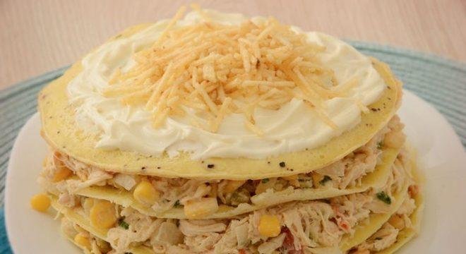 Guia da Cozinha - Omelete em camadas com frango