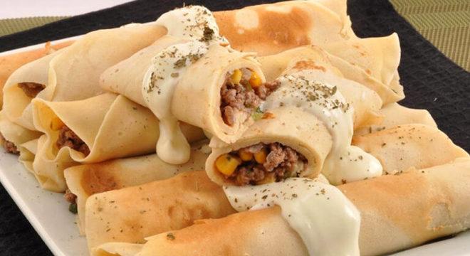 Guia da Cozinha - Panqueca de carne com requeijão para um almoço delicioso