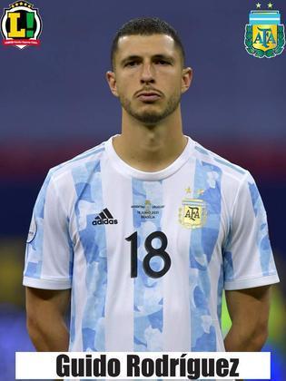 Guido Rodríguez - 5,0 - Entrou no lugar do Paredes, mas teve dificuldade para marcar Neymar. Não comprometeu.