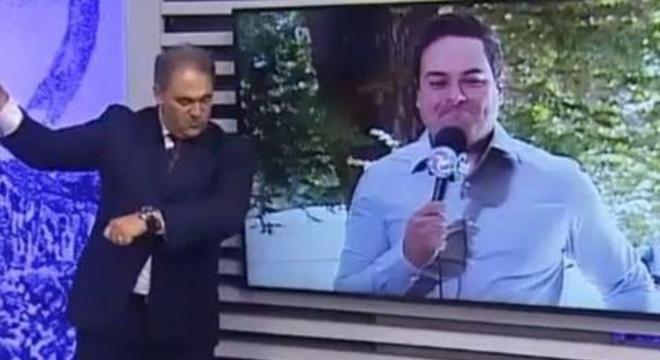 O apresentador Stanley Gusman e o repórter Rafael Martins