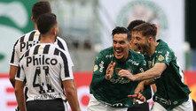 Palmeiras sofreu. Venceu o Santos. É líder isolado do Brasileiro