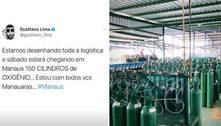 Gusttavo Lima exibe 150 cilindros de oxigênio para Manaus