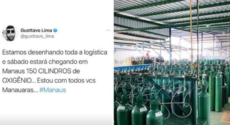Cantor mostrou cilindros que comprou e enviará para Manaus