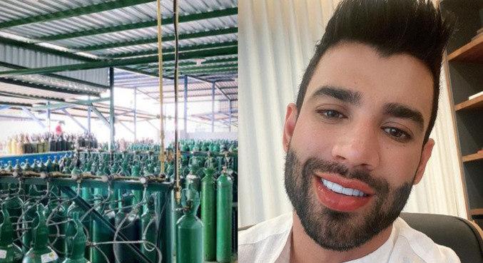 Nas redes sociais, Gusttavo Lima avisa que cilindros chegaram a Manaus esta tarde