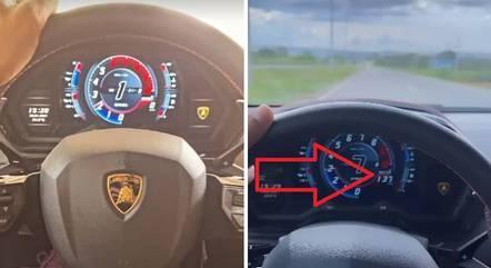 Foto (à dir.) mostra velocidade do carro do cantor