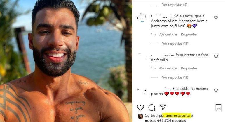 Fãs apostam que Gusttavo Lima e Andressa Suita estão no mesmo lugar, em Angra, no RJ