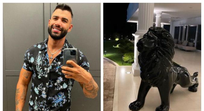 Escultura de luxo na porta da mansão de Gusttavo Lima chamou atenção na web