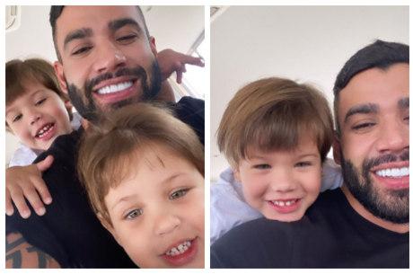 Gusttavo postou duas fotos com os filhos